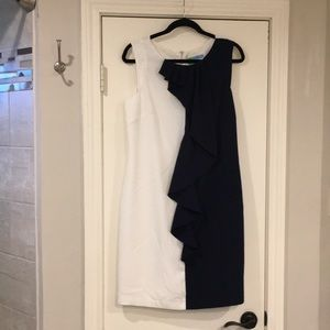 Antonio Melani Blue and White Ruffle Dress - 10